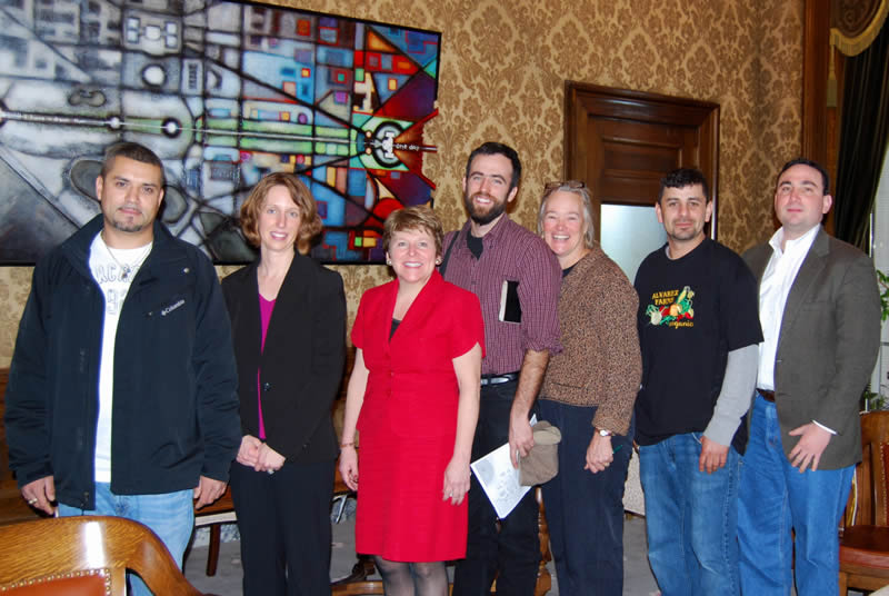 From left to right: Octavio Alvarez, Kristen Rezabek, Senator Lisa Brown, Brian Estes, Ellen Gray, Eddie Alvarez, Joel Wachs